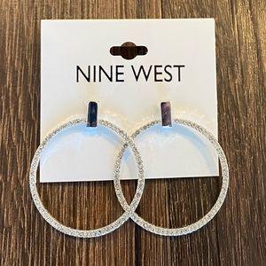 NWT Nine West Silver and Diamond Hoop Earrings